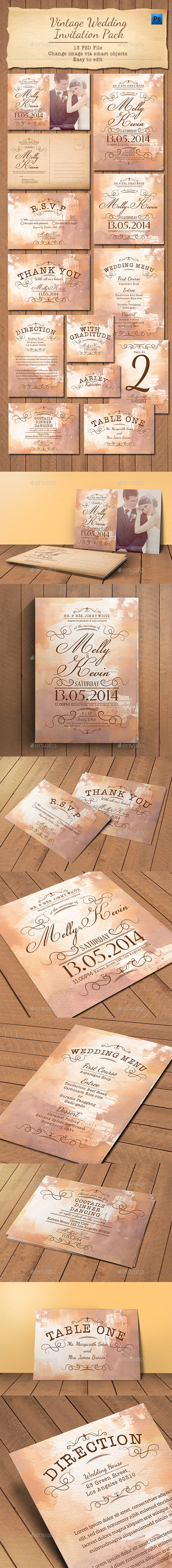 GraphicRiver Vintage Wedding Invitation Pack 11239807