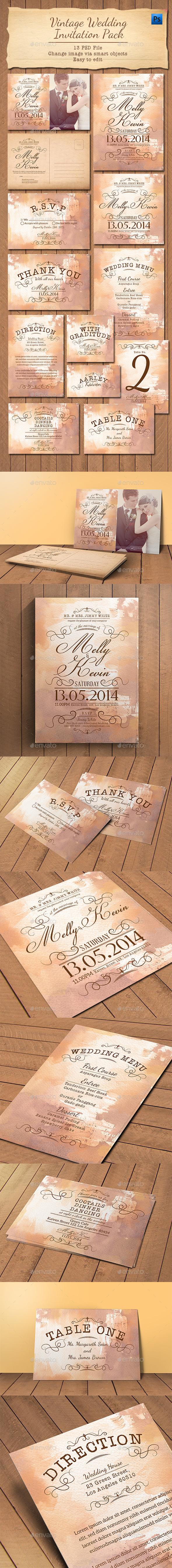 Vintage Wedding Invitation Pack