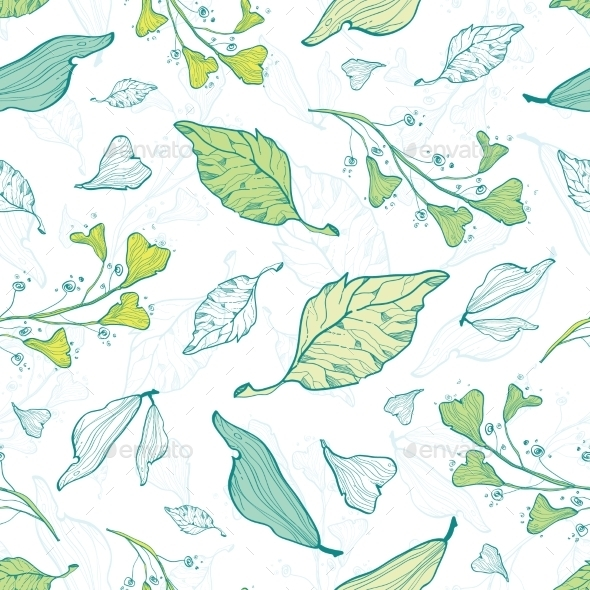 GraphicRiver Vector Lineart Spring Leaves Seamless Pattern 11261194