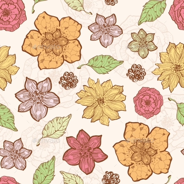 GraphicRiver Vector Warm Fall Lineart Flowers Seamless Pattern 11261199