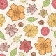 Vector Warm Fall Lineart Flowers Seamless Pattern