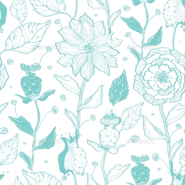 GraphicRiver Vector Aqua Lineart Flowers Seamless Pattern 11261200
