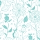 Vector Aqua Lineart Flowers Seamless Pattern - GraphicRiver Item for Sale