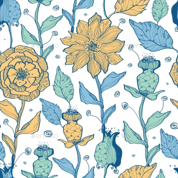 GraphicRiver Vector Whimsical Flower Garden Seamless Pattern 11261201