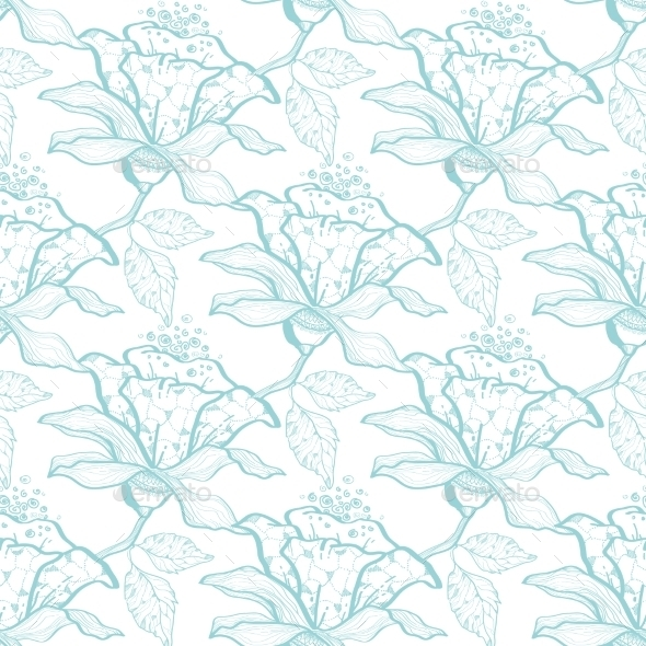 GraphicRiver Vector Light Blue Lace Florals Seamless Pattern 11261208