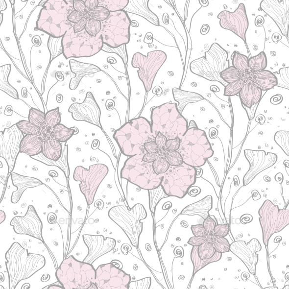 GraphicRiver Vector Magical Lace Flowers Seamless Pattern 11261209