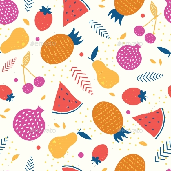 GraphicRiver Vector Colorful Tasty Fruit Seamless Pattern 11261210