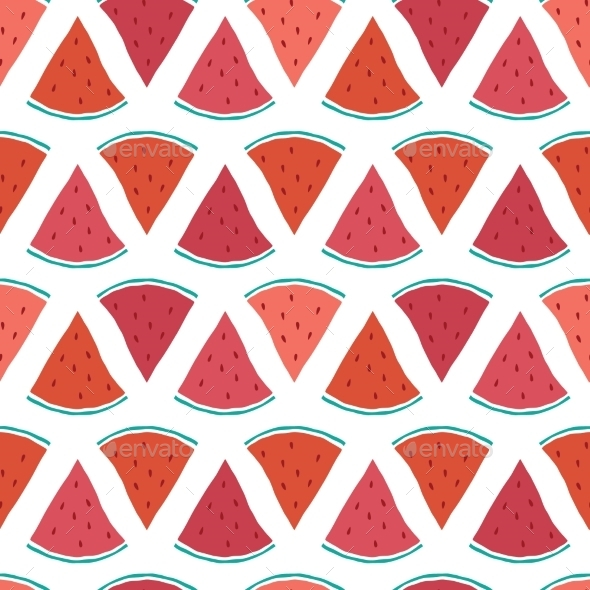GraphicRiver Vector Tasty Watermelon Slices Seamless Pattern 11261211