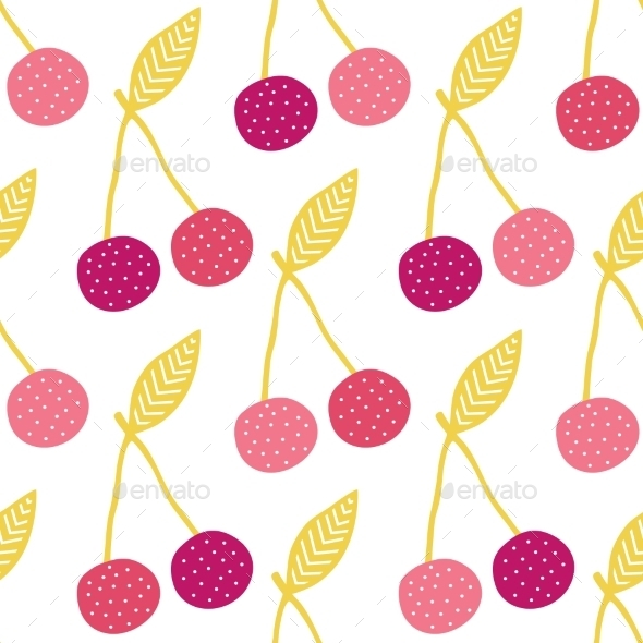 GraphicRiver Vector Yummy Cherries Seamless Pattern Background 11261212