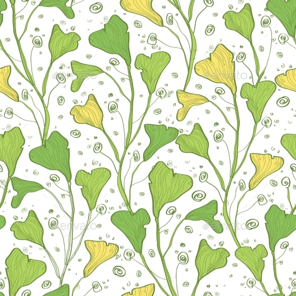 GraphicRiver Vector Green Line Art Plants Seamless Pattern 11261216