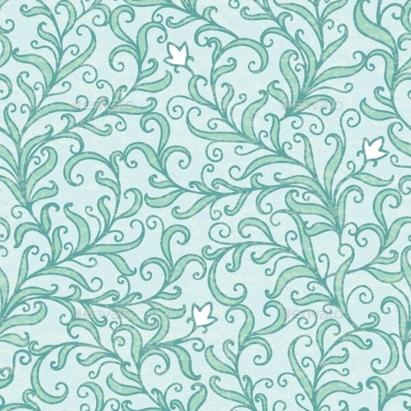 GraphicRiver Vector Green Floral Swirls Seamless Pattern 11261219