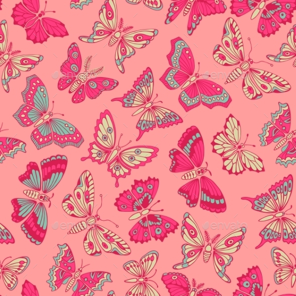 GraphicRiver Seamless Pattern With Decorative Butterflies 11261769