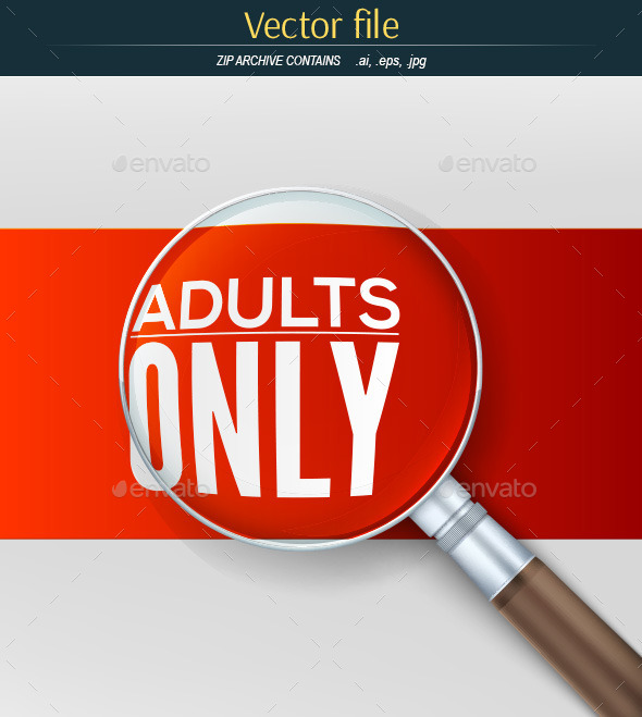 GraphicRiver Adults Only Banner with Magnifying Glass 11262293