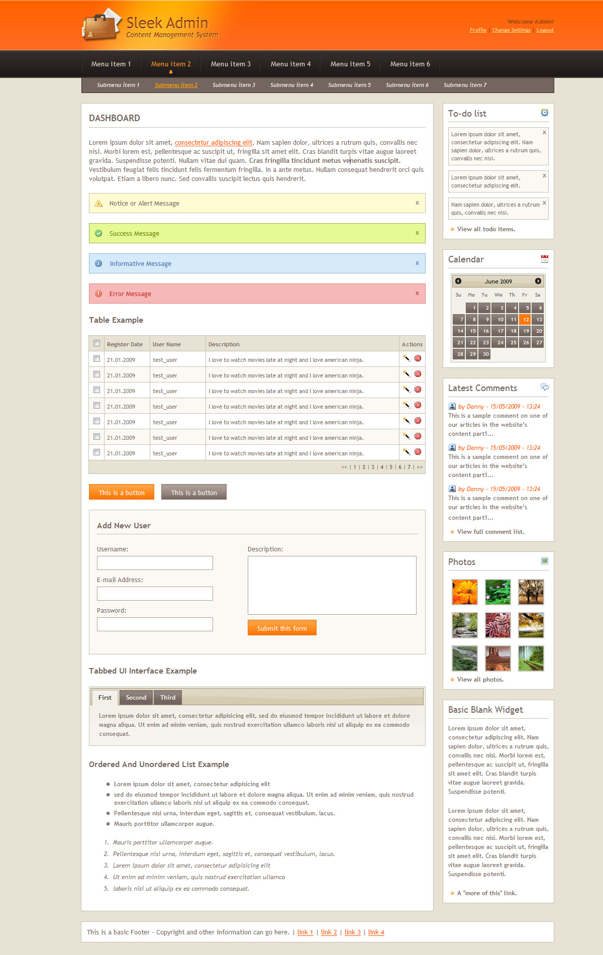 Sleek Admin Clean CSS Admin Skin - Orange Theme - Dashboard with all the layout elements
