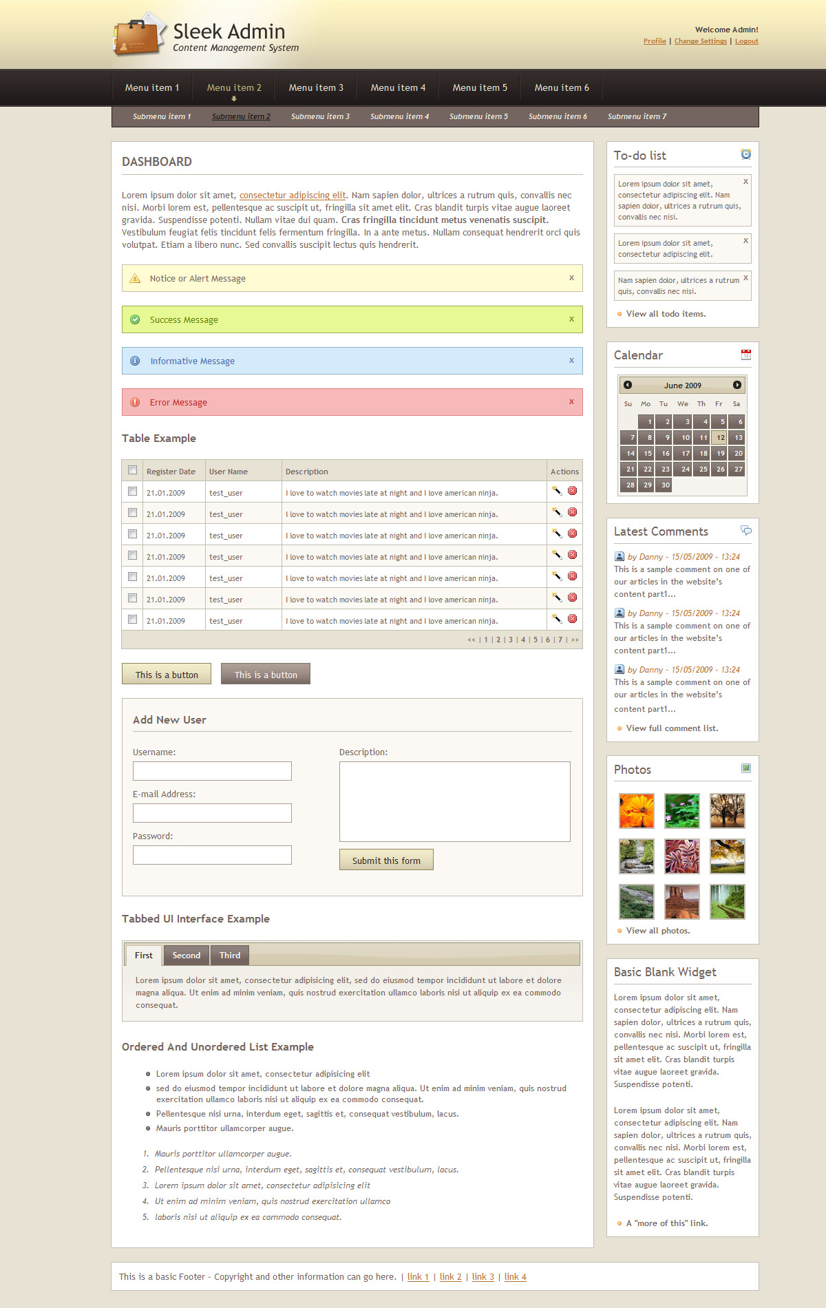 Sleek Admin Clean CSS Admin Skin - Sand Theme - Dashboard with all the layout elements