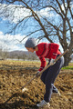 Caucasian woman with a hoe sowing potatoes - PhotoDune Item for Sale