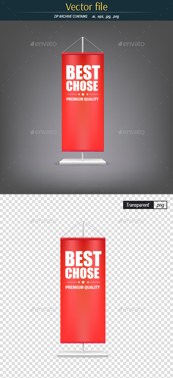 GraphicRiver Vertical Red Flag with Advertising 11262543