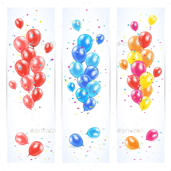 GraphicRiver Three Banners with Colorful Balloons 11262782