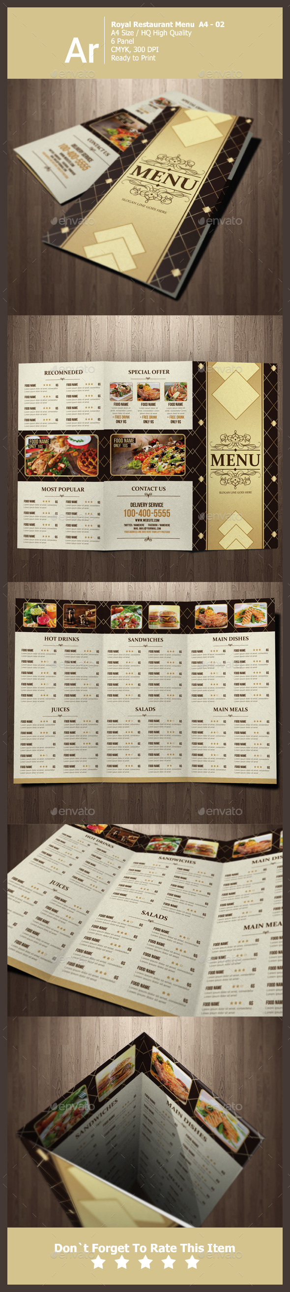 GraphicRiver Tri Fold Royal Restaurant Menu 11263366