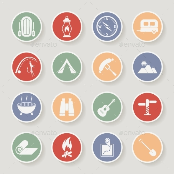 GraphicRiver Round Camping Icons Set 11263442