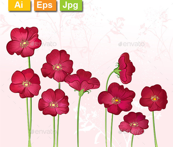 GraphicRiver Red Growings Wild Flowers 11263515