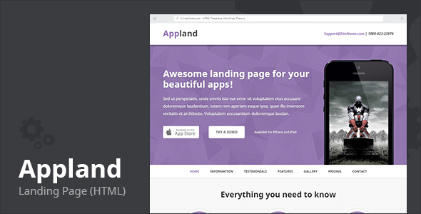 Appland - Apps Landing Page (HTML) - Technology Landing Pages
