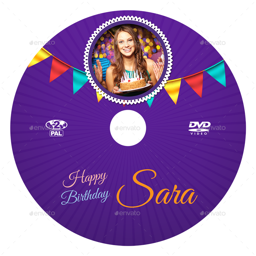 Birthday Party DVD Cover and DVD Label Template 3 by OWPictures – Dvd Label Template