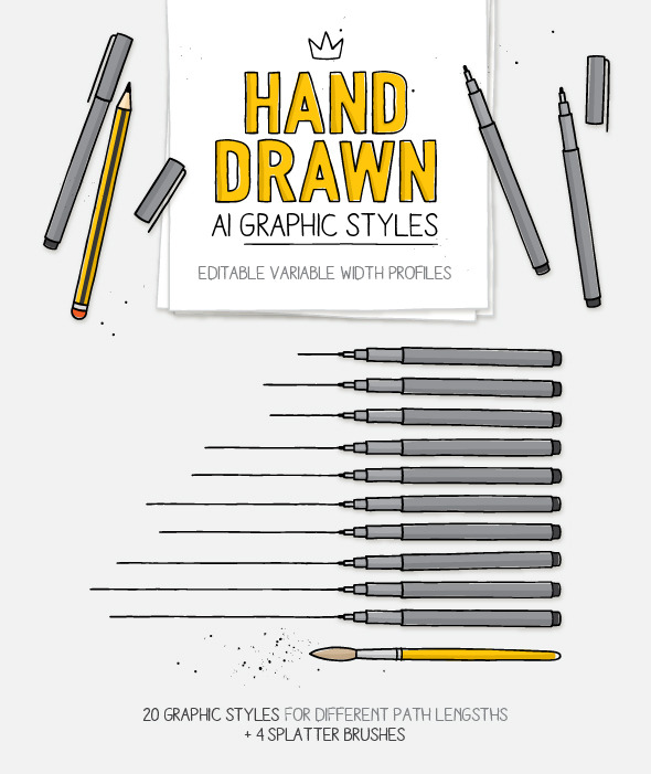 GraphicRiver AI Hand drawn styles and brushes 11264229