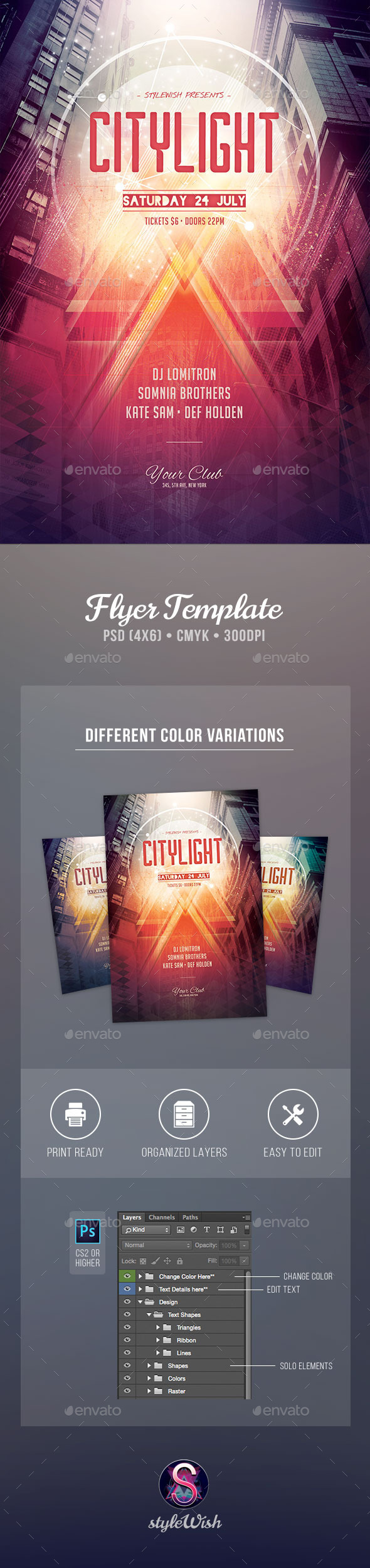 City Light Flyer - Clubs & Parties Events