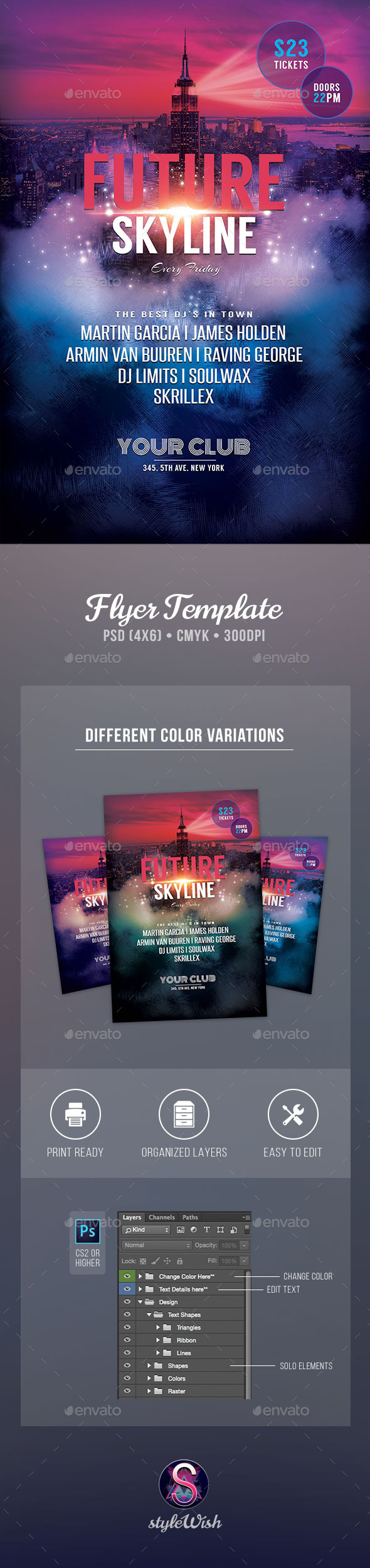 Future Skyline Flyer - Clubs & Parties Events