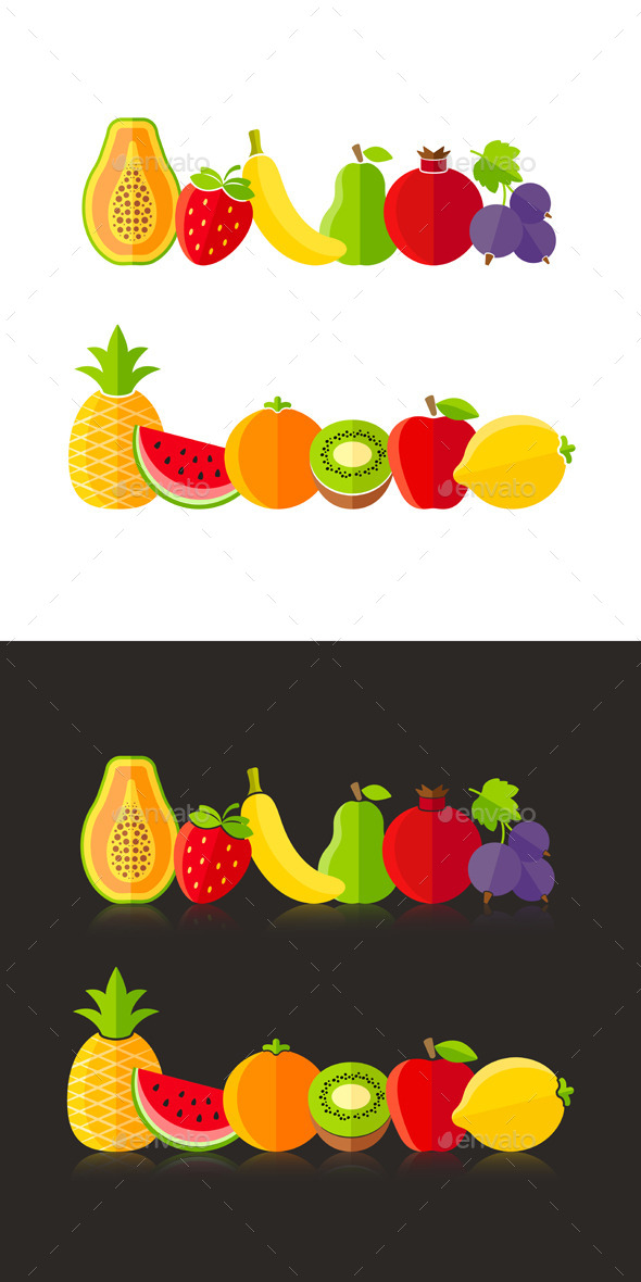 GraphicRiver Organic Farm Fruits Illustrations In Flat Style 11265053