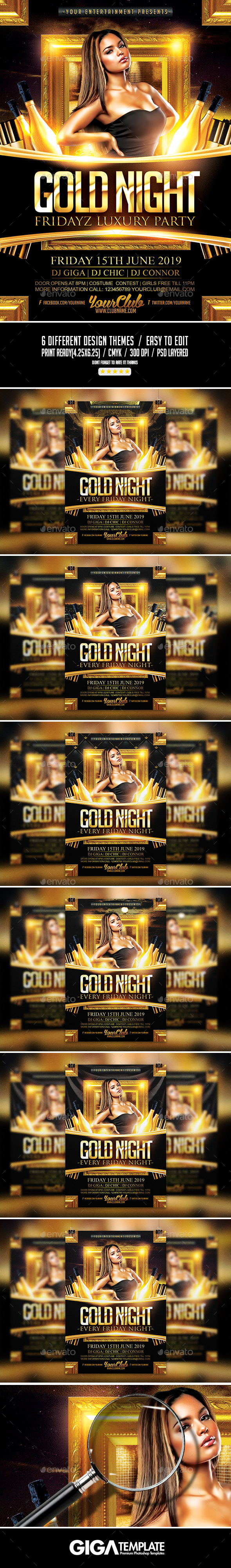 GraphicRiver Gold Night Fridayz Luxury Flyer PSD Template 11265160