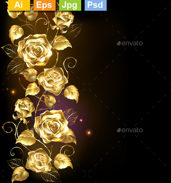 GraphicRiver Twisted Gold Rose 11265177