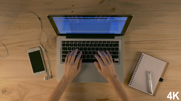 Woman Hands Working On Computer