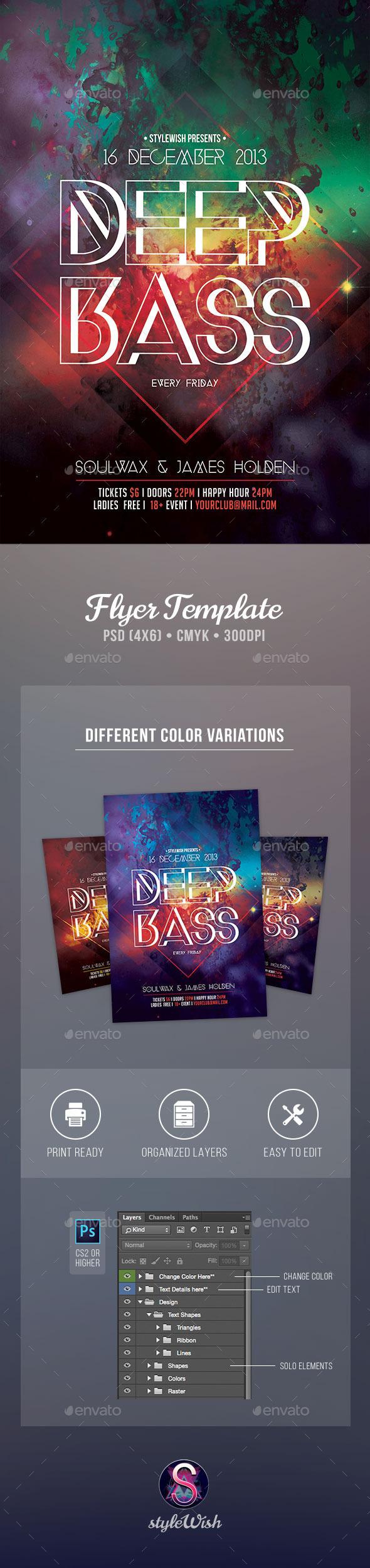 Deep Bass Flyer - Clubs & Parties Events