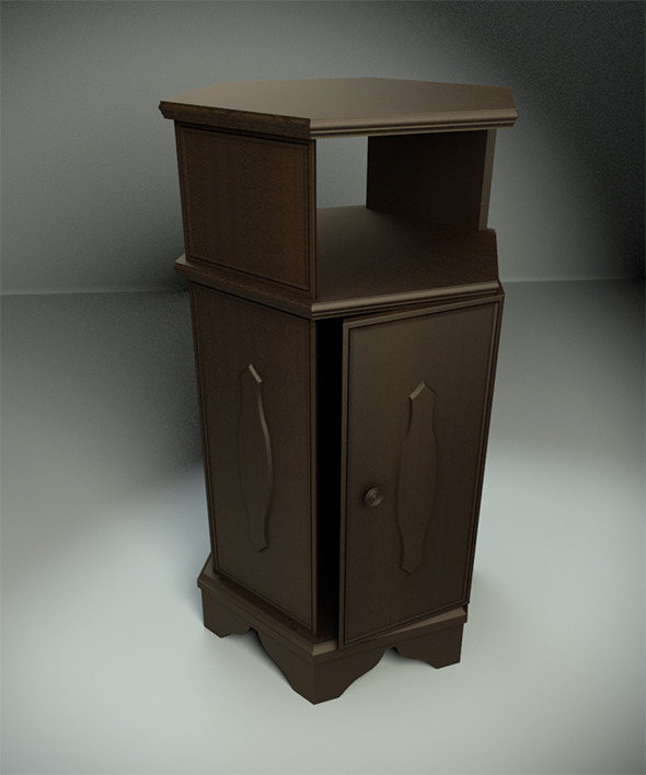Hexagonal Wooden Cabinet - 3DOcean Item for Sale