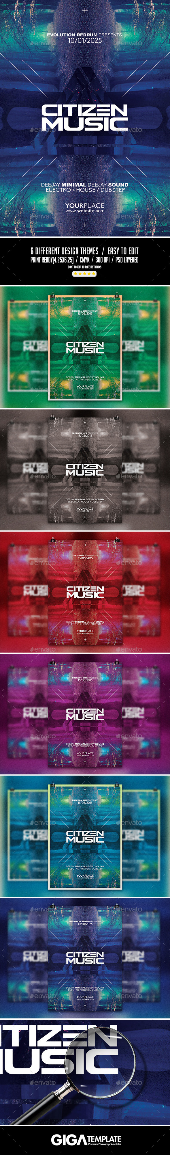GraphicRiver Citizen Music Electro Night Flyer PSD Template 11266076