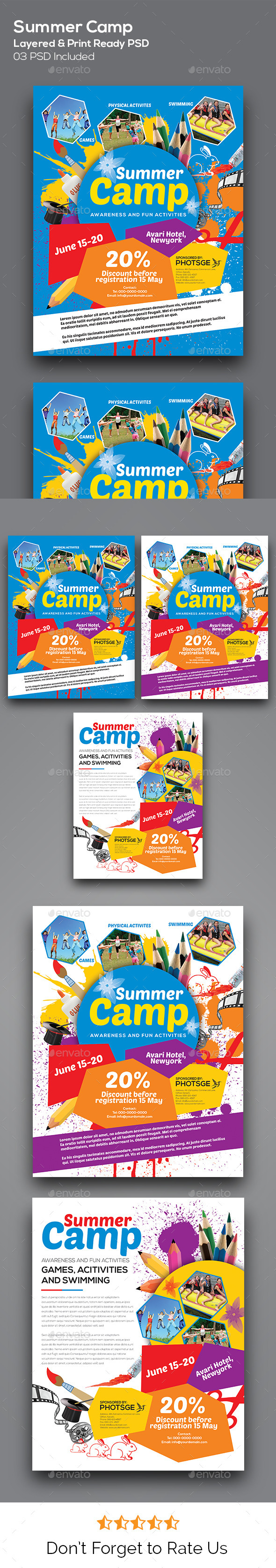 GraphicRiver Kids Summer Camp Flyers 11267524