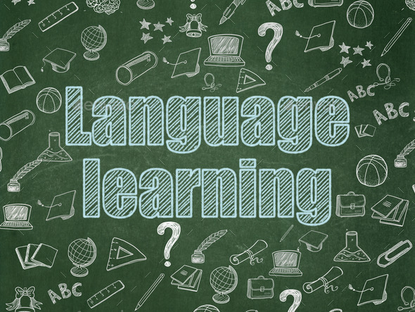 Education concept: Language Learning on School Board background