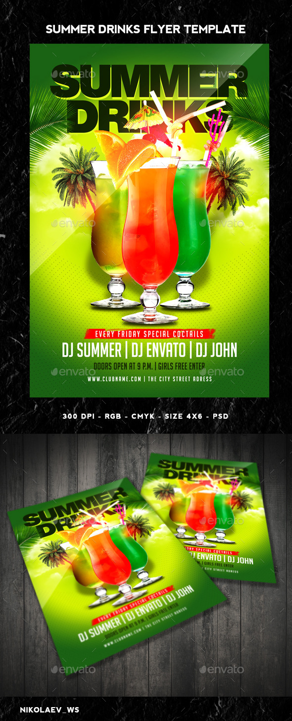 GraphicRiver Summer Drinks Flyer 11267843