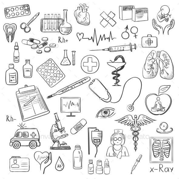 GraphicRiver Health Care and Medicine Doodle 11268449