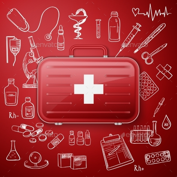 GraphicRiver Medical Chest and Hand Draw Medicine Icon 11268580