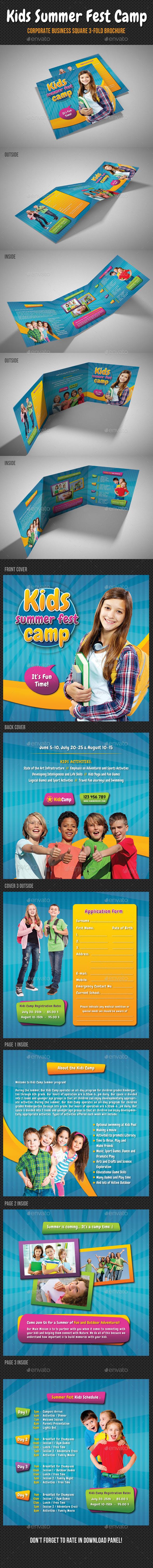 GraphicRiver Kids Summer Camp Square 3-Fold Brochure 11268725