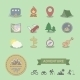 Set of Colored Camping Equipment Symbols - GraphicRiver Item for Sale