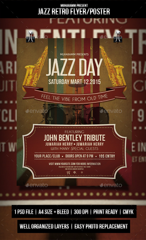 GraphicRiver Jazz Rerto Flyer Poster 11269443