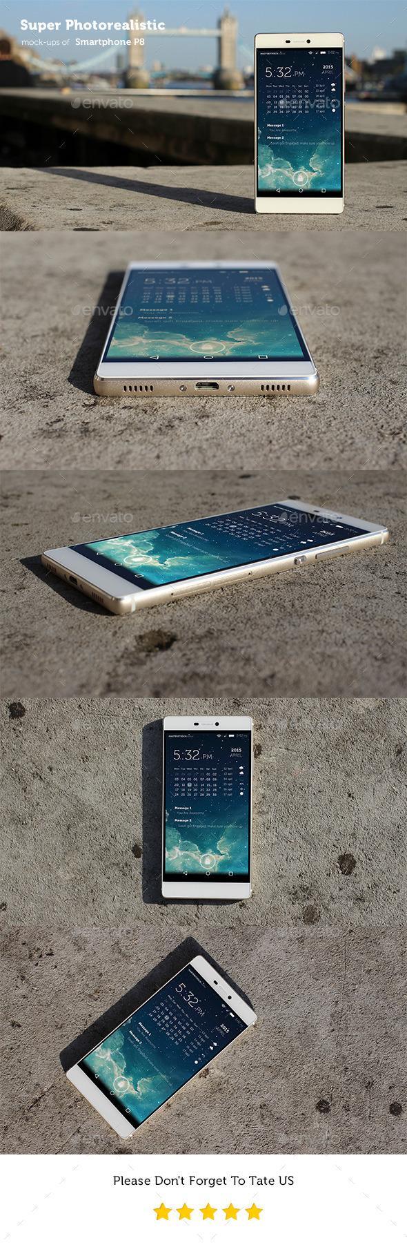 GraphicRiver Photorealistic Smartphone P8 Mockups 11269444