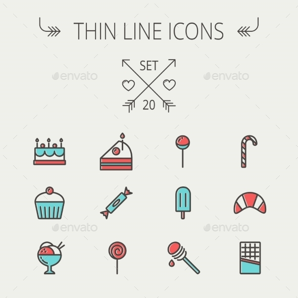 GraphicRiver Food Thin Line Icon Set 11269522