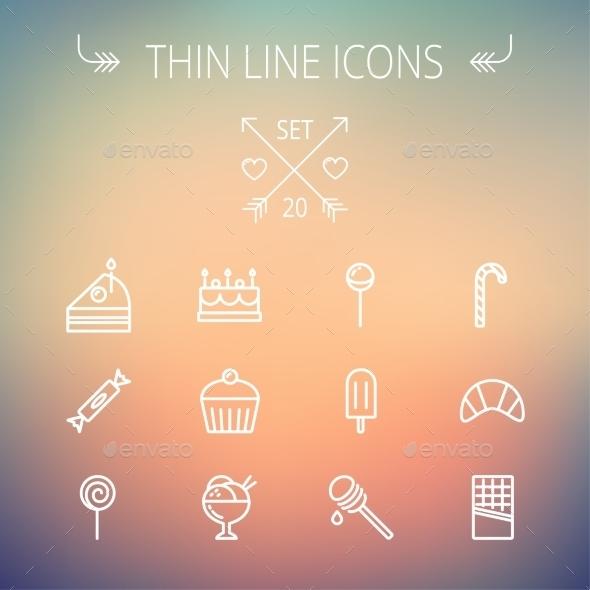 GraphicRiver Food Thin Line Icon Set 11269523