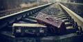 Two vintage suitcases left on railway rails. - PhotoDune Item for Sale
