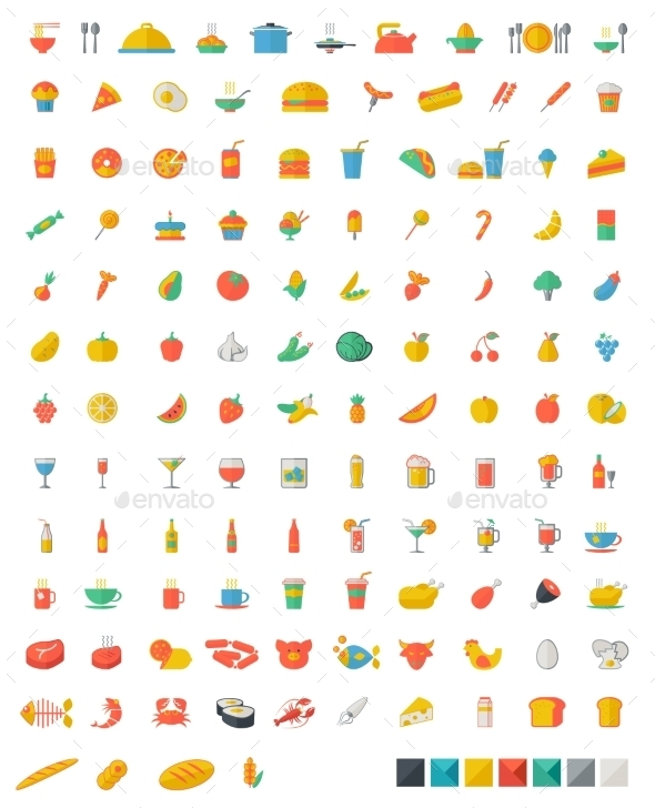 GraphicRiver Food And Beverages Flat Icons 11269726